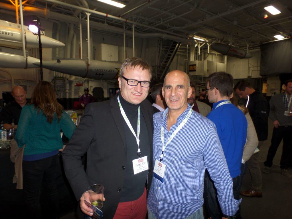 Niklas Myhr, The Social Media Professor, and Ted Rubin at Social Media Marketing World 2014 USS Midway