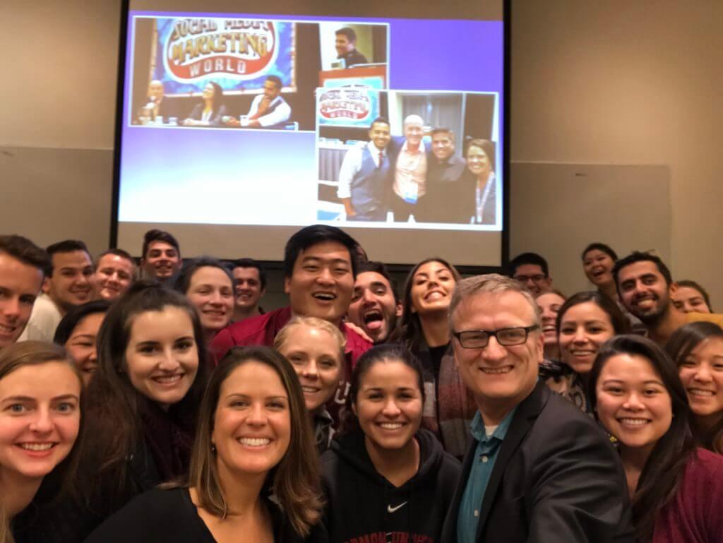 Lauren Gaggioli guest in Niklas Myhr Chapman University class on social media