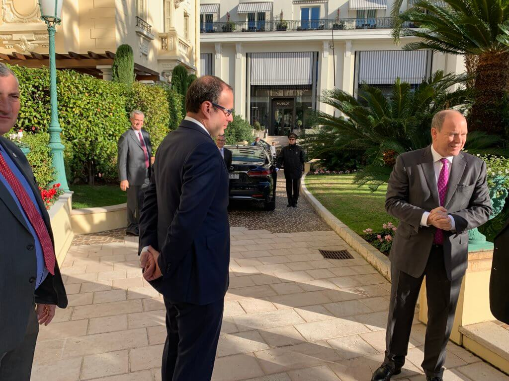Monaco Digital Advisory Council breakfast outside w Prince Albert II