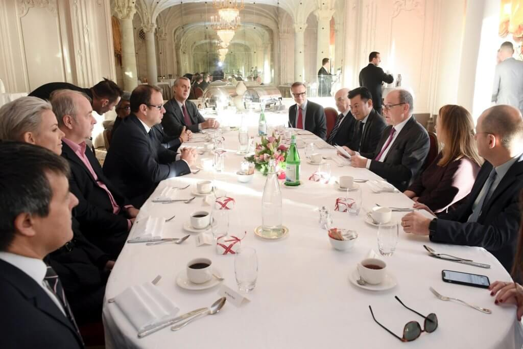 Monaco Digital Advisory Council breakfast inside w Prince Albert II